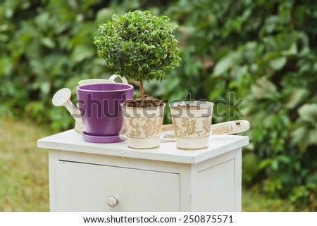 composition of vintage pots and watering can on white bureau outdoors - stock photo