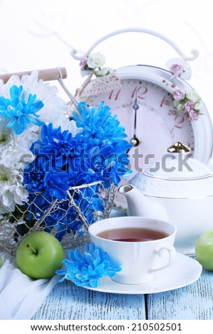 Composition of white and blue chrysanthemum close-up - stock photo