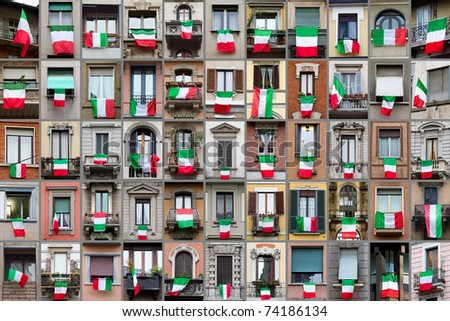 Composition of windows showing Italian flags in occasion of the celebration of the 150th anniversary for the unity of Italy. - stock photo