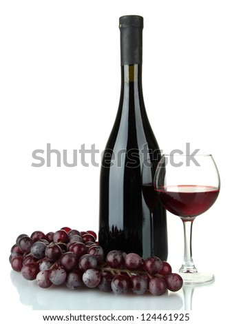composition of wine and grapes isolated on white - stock photo