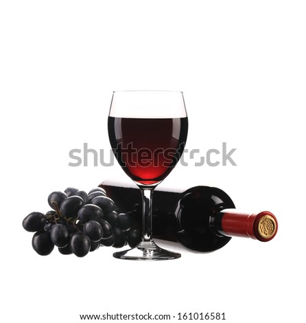 Composition of wine objects. Isolated on a white background. - stock photo