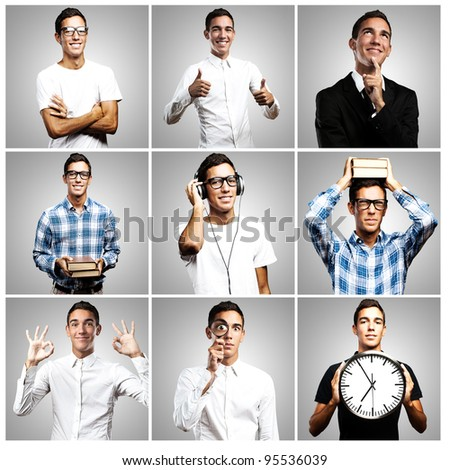 composition of young man over grey background - stock photo