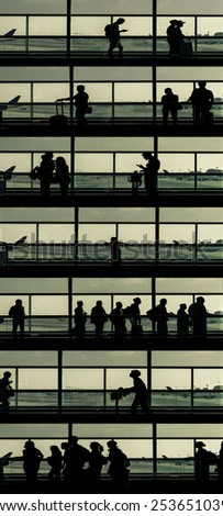 composition on different levels with passengers in an airport. concept about traveling - stock photo