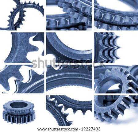 composition using many gear images in blue tone - stock photo