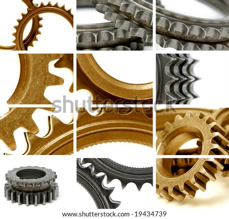 composition using many golden and gray gears - stock photo