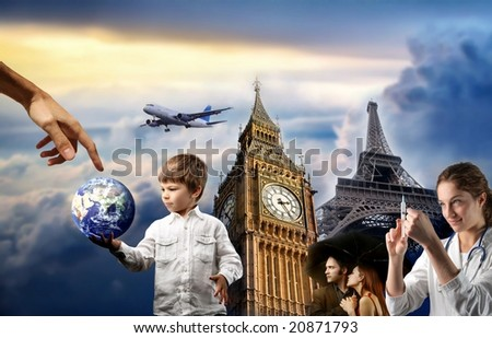 composition with a child, a couple, a doctor, big ben and eiffel tower - stock photo
