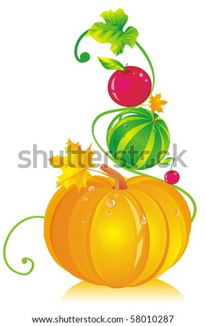 Composition with a pumpkin, a water-melon, an apple, a cherry and leaves - stock photo