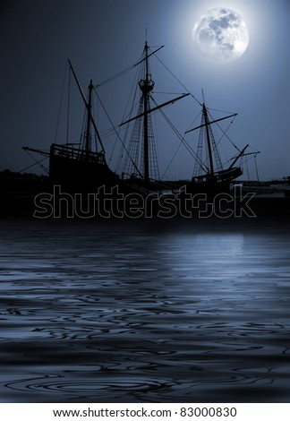 Composition with a silhouette of an old Portuguese caravel in a full moon night. - stock photo