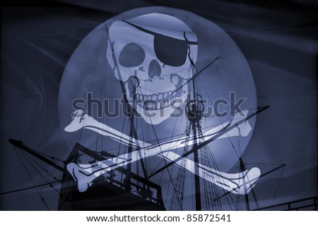 Composition with an old caravel and a pirate flag.Concept of danger. - stock photo