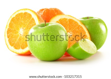 Composition with apples and oranges isolated on white - stock photo