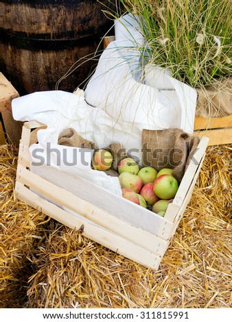 Composition with apples in box - stock photo