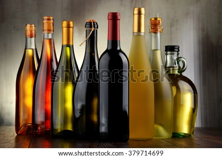 Composition with assorted bottles of wine. - stock photo