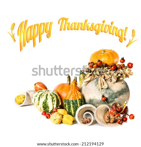 Composition with Autumn leaves, pumpkins and berries. Happy Thanksgiving! - stock photo