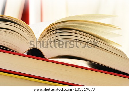 Composition with books on the table - stock photo
