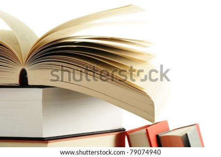 Composition with books on white background - stock photo