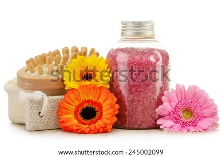 Composition with bottle of bath salt and other products - stock photo