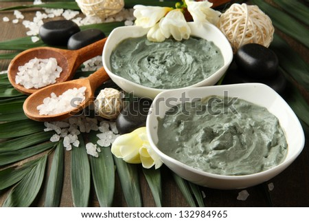 Composition with cosmetic clay for spa treatments, on palm leaf background - stock photo