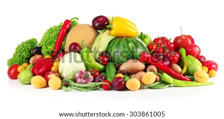 Composition with fresh fruits and vegetables isolated on white - stock photo