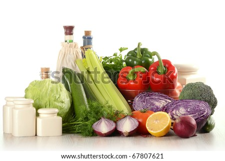 Composition with fresh raw vegetables isolated on white - stock photo