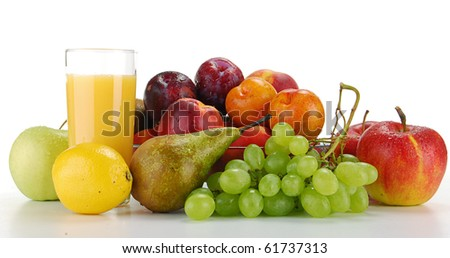 Composition with fruits isolated on white - stock photo