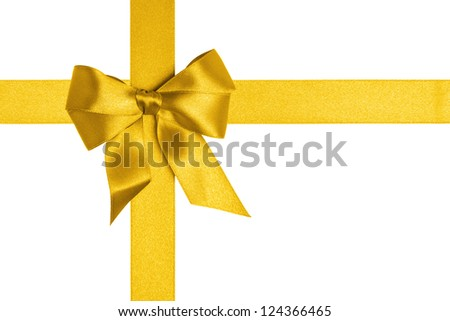 composition  with gold ribbons and a bow isolated on white