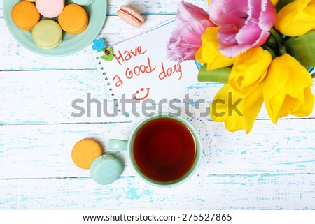 Composition with good morning top view on wooden background - stock photo