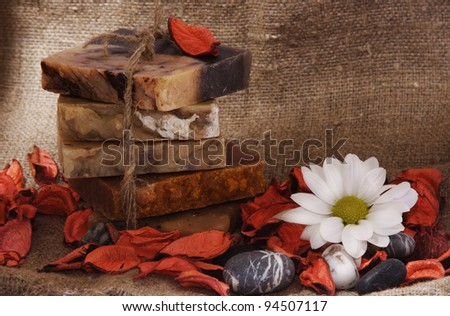Composition with handmade soap - stock photo