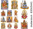 composition with  hindu gods isolated on white, India - stock photo