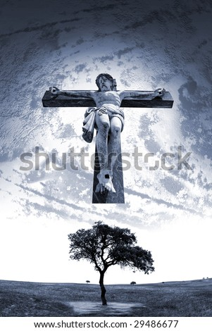 Composition with Jesus Christ as mankind savior. - stock photo