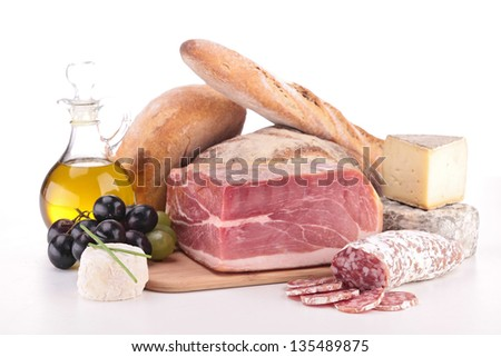composition with meat,cheese and bread - stock photo