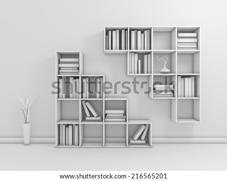 Composition with modern shelf, books and decorative vases. - stock photo