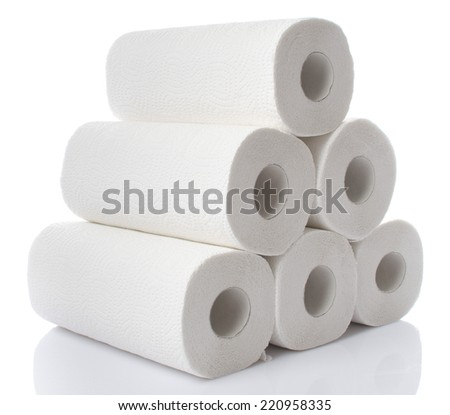 Composition with paper towel rolls, isolated on white - stock photo