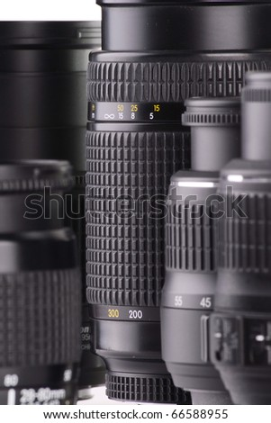 Composition with photo zoom lenses - stock photo