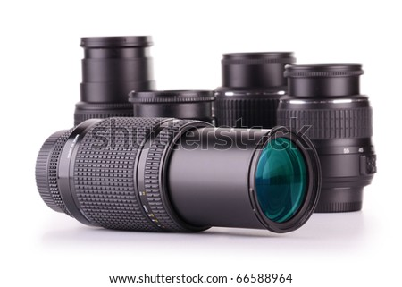 Composition with photo zoom lenses isolated on white - stock photo