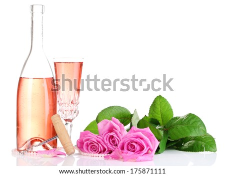 Composition with pink sparkle wine in glass, bottle and pink roses isolated on white - stock photo