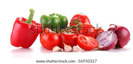 Composition with raw vegetables isolated on white - stock photo