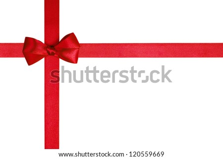 composition with red ribbons and a simple bow isolated on white - stock photo