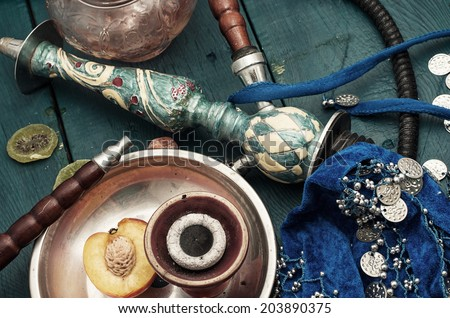composition with shisha and accessories - stock photo