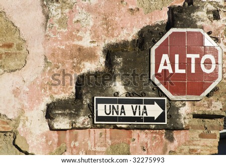 Composition with signs - seen in Antigua - stock photo