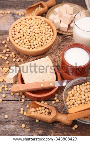 composition with soy product - stock photo