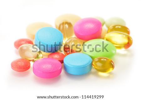 Composition with variety of drug pills and dietary supplements - stock photo
