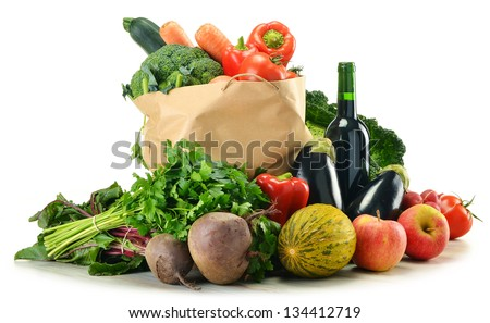Composition with variety of fresh vegetables - stock photo