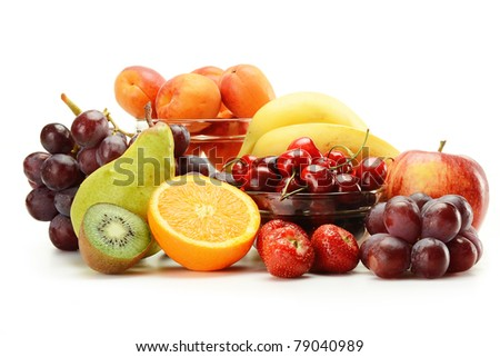 Composition with variety of fruits isolated on white - stock photo