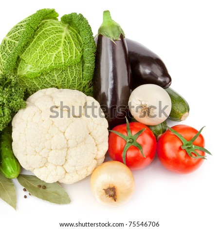 Composition with variety of raw fresh organic vegetables. Isolated over white background - stock photo
