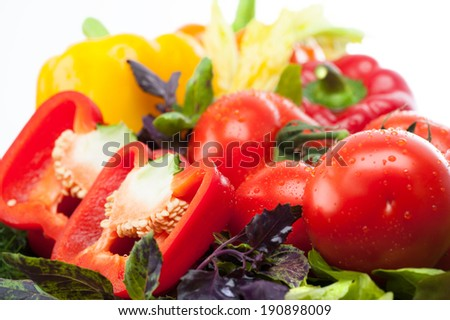 Composition with variety of raw fresh organic vegetables on wooden cutting board