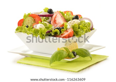 Composition with vegetable salad bowl isolated on white - stock photo