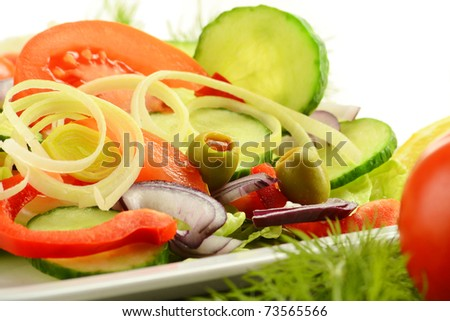 Composition with vegetable salad with olives - stock photo