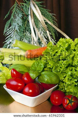 Composition with vegetables for the Christmas holidays in supermarkets and shops