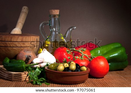 Composition with vegetables ,olive oil and herbs - stock photo