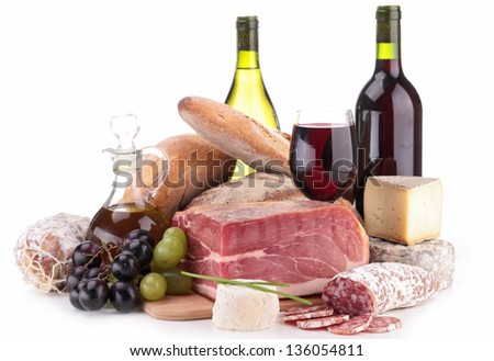 composition with wine,sausage and bread - stock photo